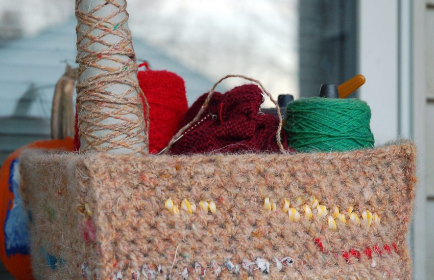 scrap wool and fabric felted crochet basket