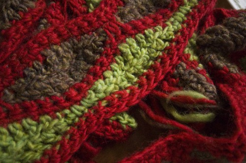 Crochet Mosaic Scarf | Free | A rainbow of colors made from your stash!